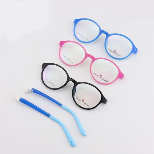 Venta caliente nueva moda color encantador estilo gafas redondas TR monturas de gafas ópticas desmontables para niños
