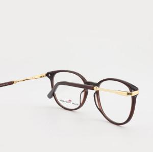 Top venta nuevos diseños de lujo de moda moderna para hombre gafas redondas Montura de gafas ópticas de metal de acetato fino