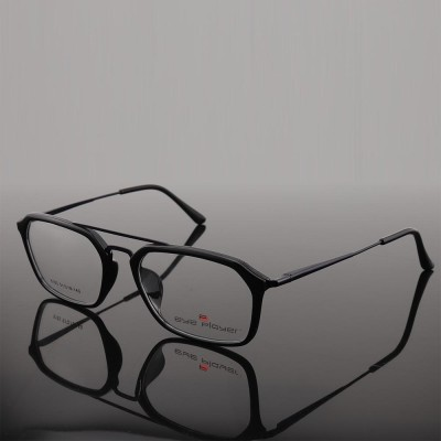 Online hot sale new stock trendy unique style eyewears double bridge TR metal optical eye glasses frames mens
