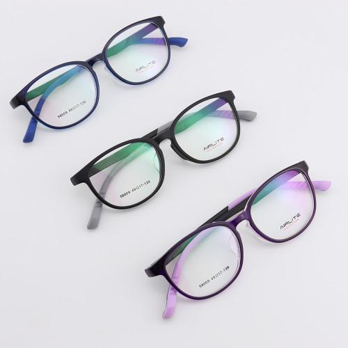 Gafas de plástico de estilo único promocional de nueva moda TR monturas ópticas deportivas redondas suaves gafas adolescentes