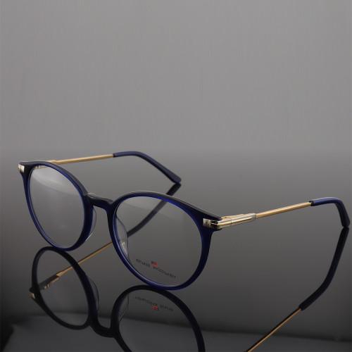 Suministro de fábrica de ZOHO LOW MOQ negocios de moda gafas de acetato redondas Marcos de gafas de metal populares para hombre