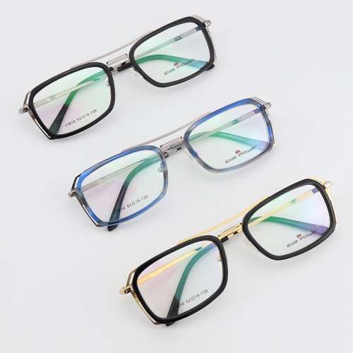 Promosyon Fabrika kaynağı yeni erkek lüks hafif gözlük çerçeveleri metal Asetat Köprü optik eyewears