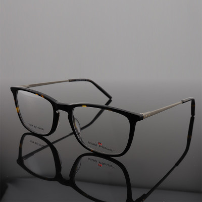 Hot selling LOW MOQ classical stylish color eyewears Acetate thin metal square frame optical glasses
