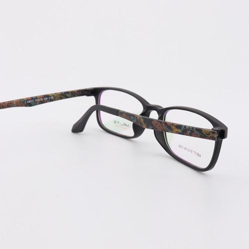 Patrón de moda nuevas gafas coloridas brillantes TR marcos de anteojos ópticos precio barato ligero