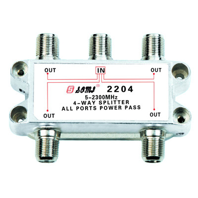 China Manufacturer Indoor 4-way Satellite Splitter (5-2400MHz)