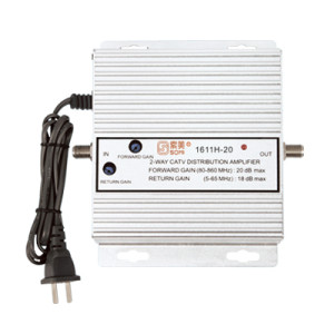 Bidirectional TV antenna amplifier, aluminium housing, Adjustable Gain 20dB(for catv use)