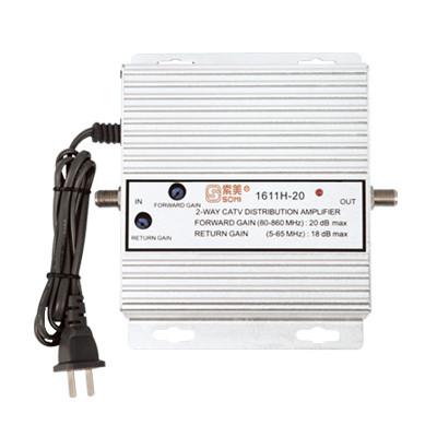 Bidirectional TV antenna amplifier, aluminium housing, Adjustable Gain 20dB(for catv use)