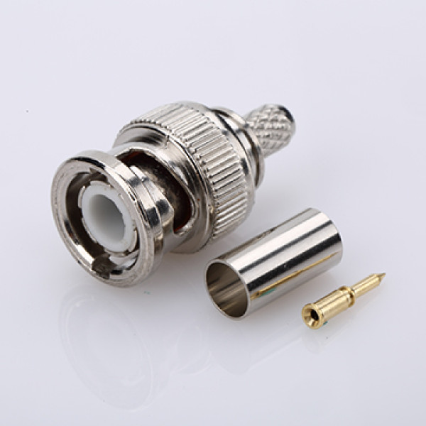 BNC male connector crimp type nickel-plated attached pin and copper pipe