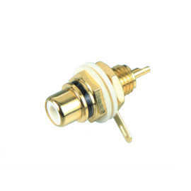 RCA connector, RCA Jack, Gold Plated, Chassis mount type