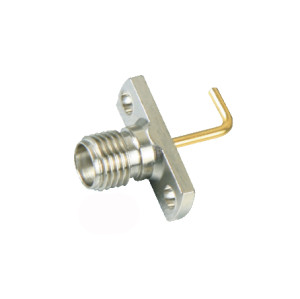 RF Coaxial Mini SMA Connector with Female S/T Jack and 2-hole Panel SQ Flange for Panel Mount connector
