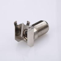 PCB mount f connector female nickel plated