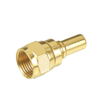 F male connector, gold plated crimp type for 1.9C or 4C coaxial cable