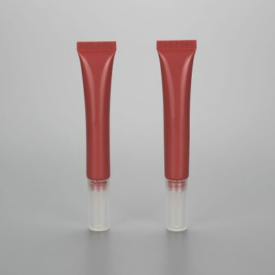 10g new design empty cosmetic plastic soft lip gloss tube eye gel with long silicon applicator