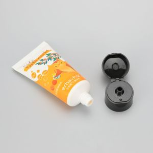 35mm 50g cute kids toothpaste plastic packaging empty tube with normal black  flip top cap