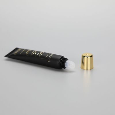 20ml Matt black plastic cosmetic slanted lip balm tube lip gloss tube with golden screw cap
