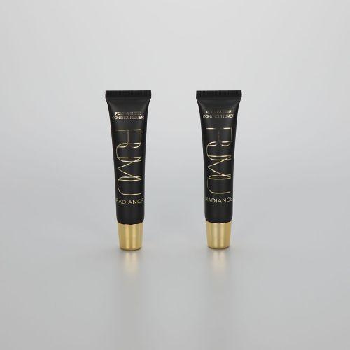 20ml Matt black plastic cosmetic slanted lip balm tube lip gloss tube with golden screw cap