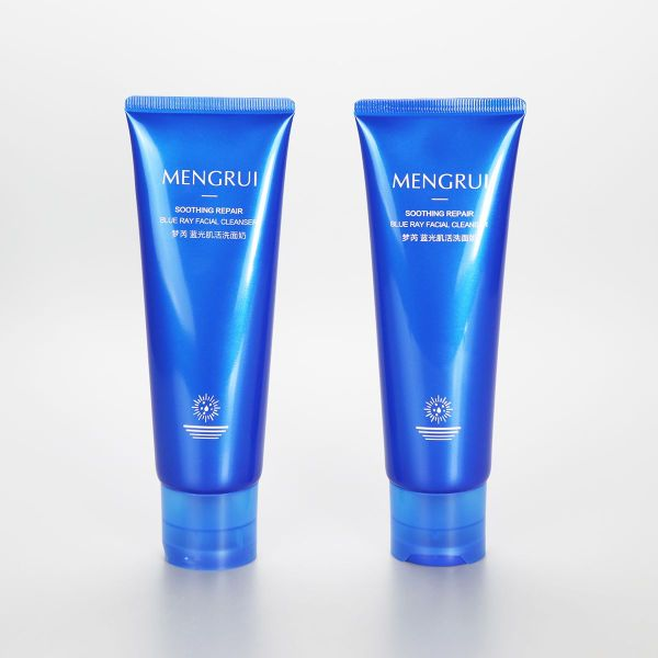 120g eco friendly blue facial cleanser tube cosmetic plastic tubes with disc cap