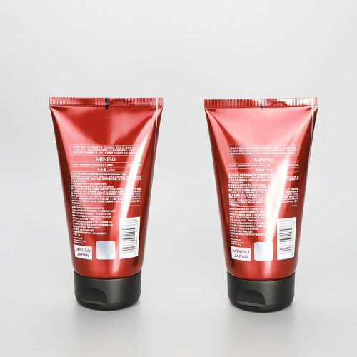 High gloss 100g red aluminum plastic cosmetic tube for facial cleanser with black flip top cap