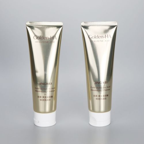High glossy 130g aluminum plastic cosmetic tube for facial cleanser with flip top cap