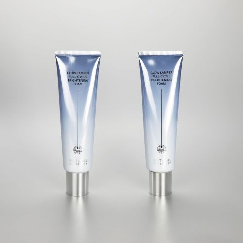 100g gradient grey aluminum plastic cosmetic facial cleanser tube with silver screw cap