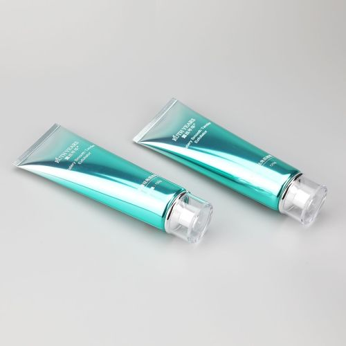 120g gradient green high glossy facial cleanser hair gels tube with high quality acrylic screw cap