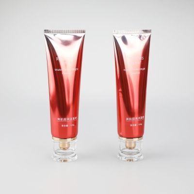 120g gradient red high glossy aluminum plastic tube with fancy shape luxury acrylic screw cap