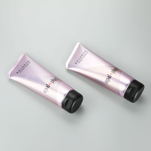 220g matt/glossy purple plastic round tube with oblique end and high quality black flip top cap