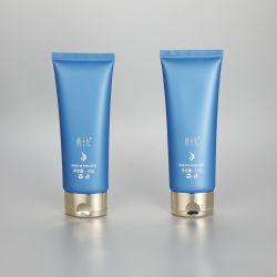 100g/3.53oz empty oval matt blue cosmetic plastic facial cleanser tubes with golden flip top cap