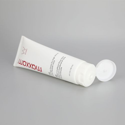 180g Dark white hair gel facial cleanser plastic squeeze tube with glossy white flip top cap