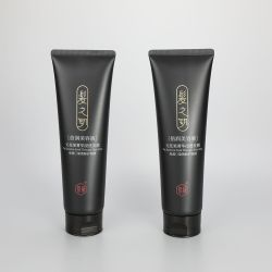 200g Dark black hair gel plastic empty squeeze packaging tube with high quality glossy flip top cap