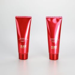 110g High glossy shiny material red facial cleanser packaging tube with luxury glossy screw cap