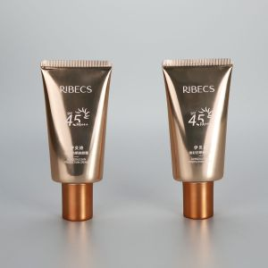 40g oval shiny golden high glossy sunscreen cream plastic empty tube with galvanized screw cap