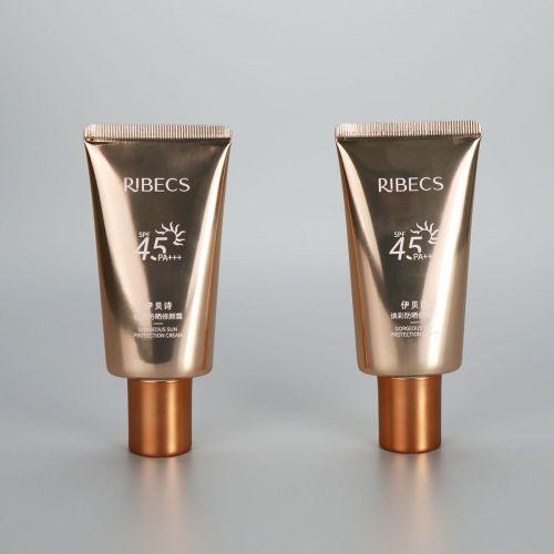 40g oval shiny golden high glossy sunscreen cream plastic empty tube with galvanized screw cap