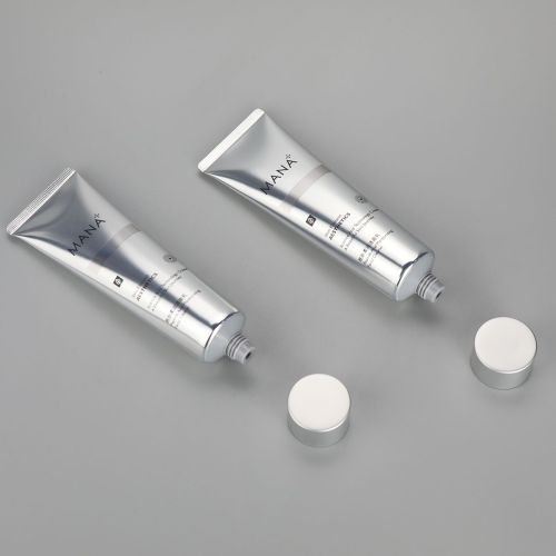 100ml aluminum plastic facial cleanser tube cosmetic silver surface tube with matt silver screw cap