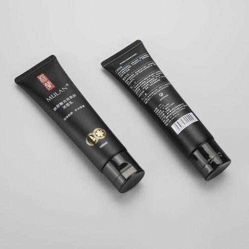 100ml matt black plastic cosmetic facial cleanser tube with flip top cap