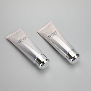 100g ABL Aluminum shiny color round plastic facial cleanser cream tube with  silver screw cap