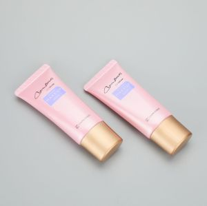 30g/ 1oz pink oval PBL plastic cosmetic BB CC cream tube with screw cap