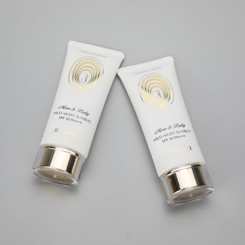 45mm Oval white 100g/3.5oz  plastic sunscreen cosmetic tube with golden pumps and acrylic cap