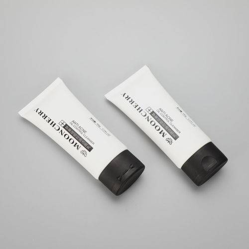 100g/3.51oz plastic tube packaging for anti acne oil control facial cleanser with black flip cap