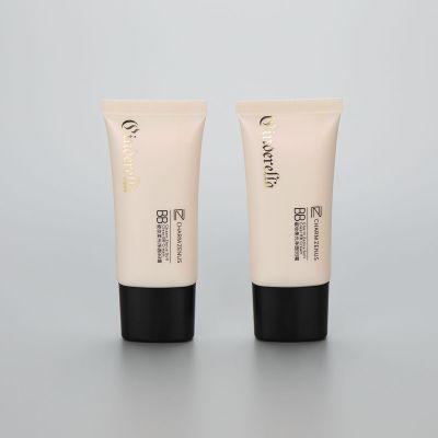30mm super oval cosmetic plastic BB CC cream tube with black screw cap