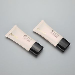 30mm super oval cosmetic plastic BB CC cream tube with black screw cap