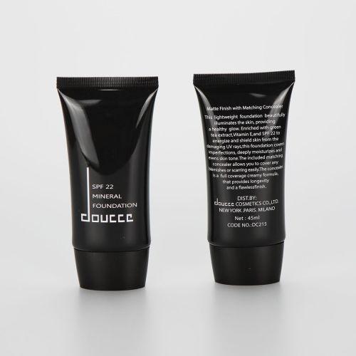 45ml black cosmetic BB CC sunscreen tube with black screw cap