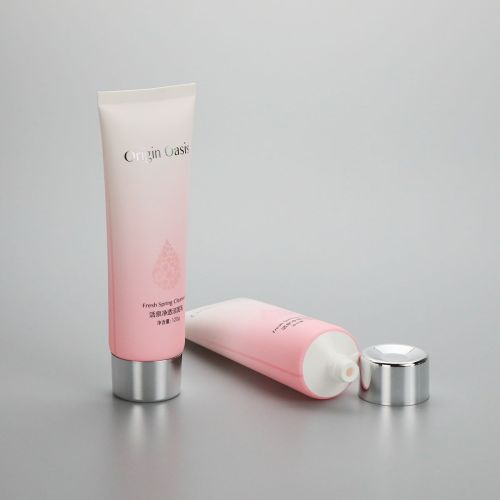 D40mm 120g gradient pink cosmetic plastic soft tube for facial cleanser with silver screw cap