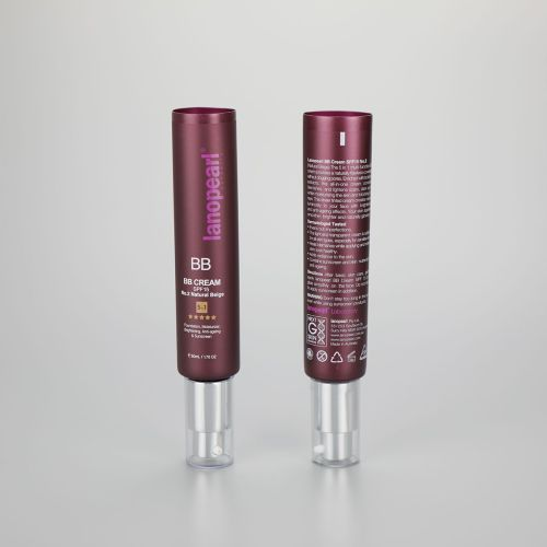 PBL 75ml 2.6oz cosmetic plastic cream skincare tube  with silver cream pumps and acrylic caps