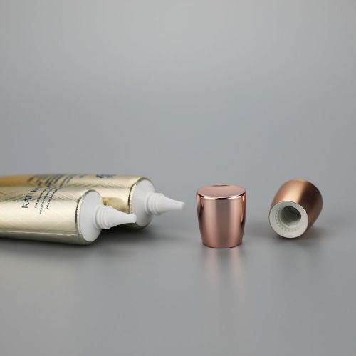 30g high gloss eye cream cosmetic plastic long nozzle empty tube with fancy rose golden screw cap