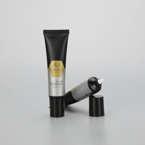 30g long nozzle men facial cleanser empty cosmetic plastic packaging tube with black screw cap