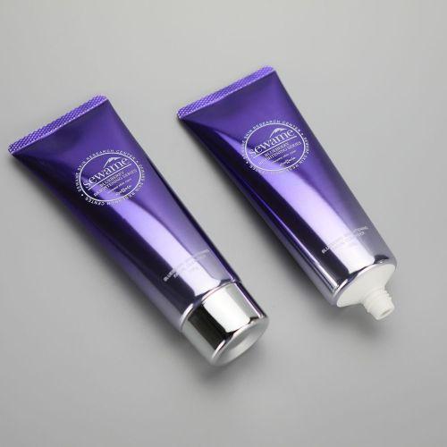 100g gradient purple aluminum plastic facial cleanser tube hand cream tube with silver screw cap