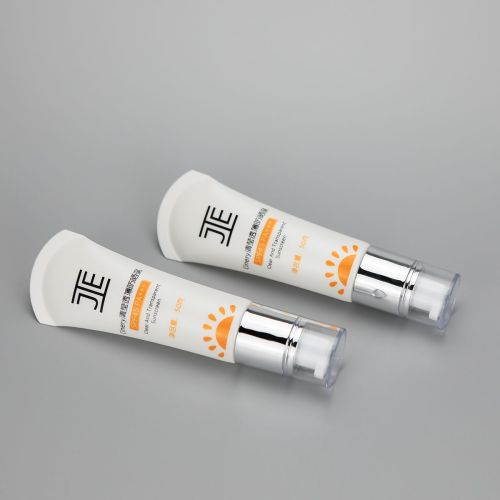 30mm 50g sunscreen cream BB CC cream eye cream cosmetic plastic empty packaging tube with silver airless pump and clear cover
