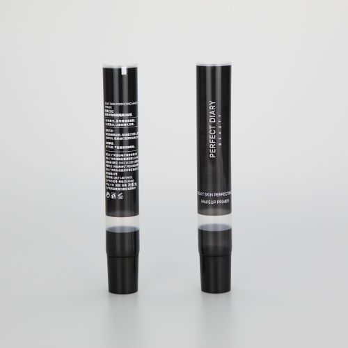fancy 30g long nozzle face cream eye cream cosmetic plastic packaging tube with black screw cap