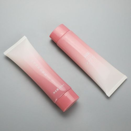 120ml gradient pink oval cosmetic plastic glossy soft tube for facial cleanser with screw cap